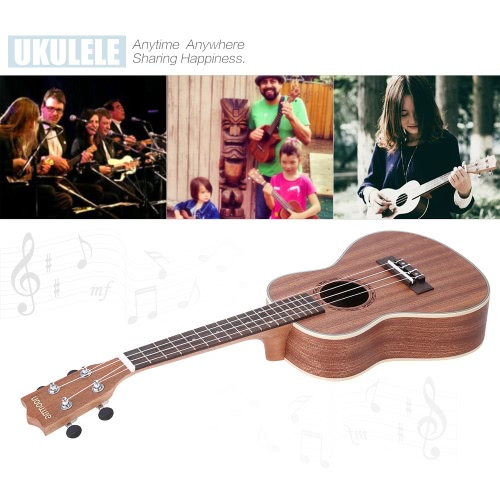 ammoon 24″ Sapele Ukulele 4 Strings with Rosewood Fretboard White Brims Musical Instrument New Year's Day Gift Present