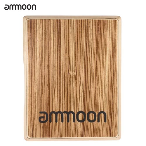 ammoon Compact Travel Cajon Flat Hand Drum Persussion Instrument Zebra Wood 31.5 * 24.5 * 4.5cm