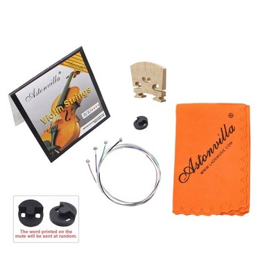 Violin 4 in 1 Set of Strings/Rubber Mute/Maple 4/4 Bridge/Cleaning Cloth Accessories Parts Replace Tool