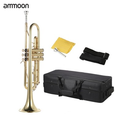 ammoon Trumpet Bb B Flat Brass Gold-painted Exquisite Durable Musical Instrument