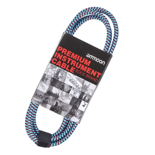 ammoon 3M / 10 Feet Instrument Guitar Cable Straight to Right Angle 1/4-Inch 6.35mm Plug with Blue Tweed Woven Jacket