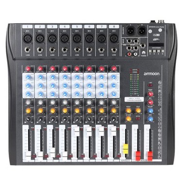 CT80S-USB 8 Channel Digtal Mic Line Audio Mixing Mixer Console with 48V Phantom Power for Recording DJ Stage Karaoke Music Appreciation