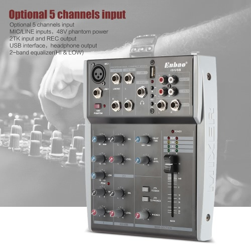 Portable 5 Channels Music Audio Mixer Mixing Console 2-Band EQ with USB XLR LINE Input 48V Phantom Power  for Recording DJ Stage Karaoke