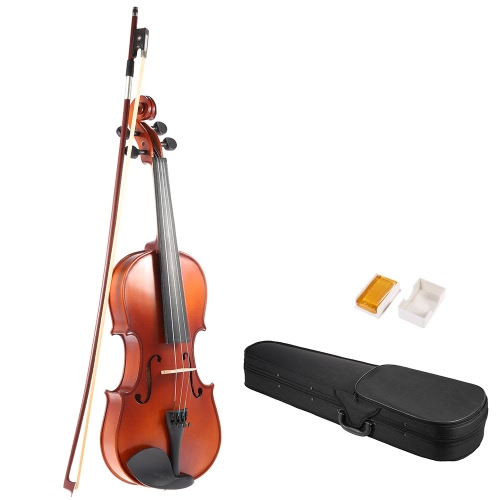 ammoon 1/4 Solid Wood Antique Violin Fiddle Matte Finish Spruce Face Board with Hard Case Bow Rosin