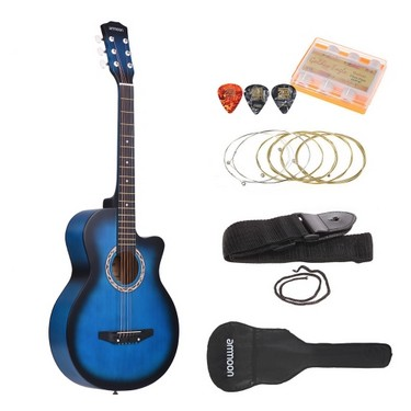 ammoon 38″ 6-String Cutaway Folk Acoustic Guitar with Bag Strap String Tuner Pick for Beginners Music Lovers Students