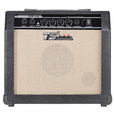 GT-15 Professional 3-Band EQ 2 Channel Electric Guitar Amplifier Distortion Amp 15W with 5″ Speaker