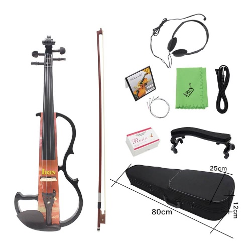 Full Size 4/4 Electric Violin Fiddle Maple Wood Stringed Instrument Ebony Fretboard Chin Rest with 1/4″ Connecting Cable Earphone Case for Music   Lovers Beginners