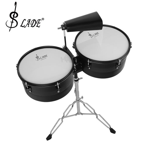 Latin Percussion 13″ & 14″ Timbales Drum Set with Stand and Cowbell