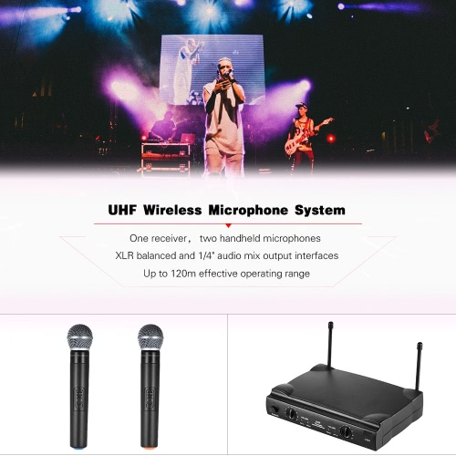 UHF Dual Channels Wireless Microphone Mic System with 1 Receiver 2 Handheld Microphones 6.35mm Audio Cable Power Adapter for Karaoke Meeting Party