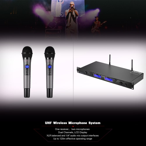 Professional UHF Wireless Microphone Mic System Dual Channels LCD Display Receiver 2 Handheld Microphones 6.35mm Audio Cable Power Adapter for Stage Karaoke Meeting Party