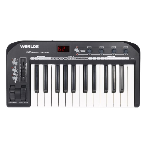 KS25A Portable 25-key USB MIDI Keyboard Controller with USB Cable
