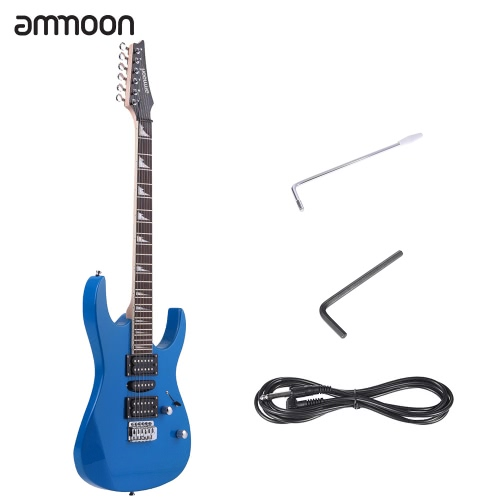 ammoon 38″ Electric Guitar 6 String Solid Wood Basswood Body Maple Neck Rosewood Fretboard 24 Frets with 6.35mm Cable