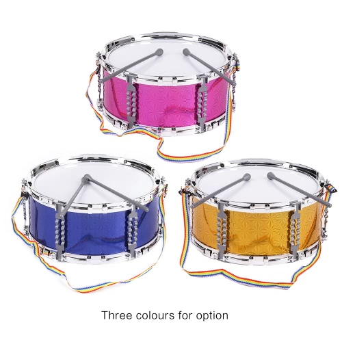 Colorful Jazz Snare Drum Musical Toy Percussion Instrument with Drum Sticks Strap for Children Kids
