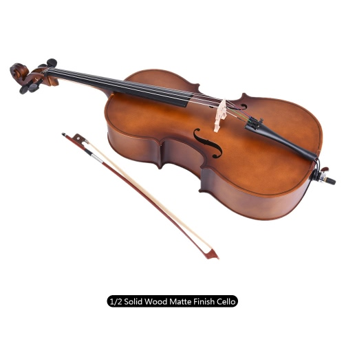 1/2 Solid Wood Cello Matte Finish Basswood Face Board with Bow Rosin Carrying Bag for Students Music Lovers