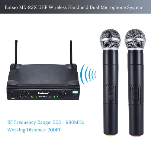 Enbao MD-82X UHF Wireless Handheld Dual Microphone System 2 Microphones Mic Receiver 6.35mm Audio Cable AC Adapter – Easy Setup – for Karaoke Performance Presentation Public Address