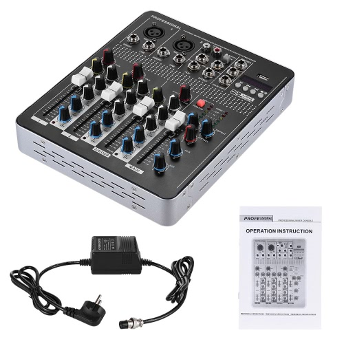 Professional BT 4-Channel Mic Line Audio Mixer Mixing Console with 3-band EQ 48V Phantom Power USB Interface