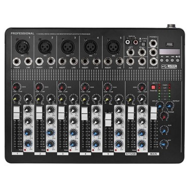 Professional BT 7-Channel Mic Line Audio Mixer Mixing Console with 3-band EQ 48V Phantom Power USB Interface