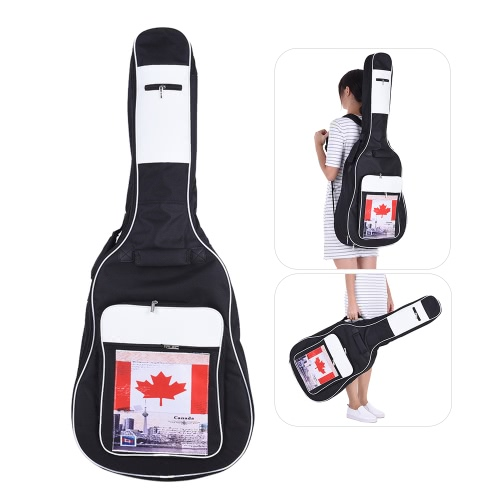 41″ Acoustic Classical Guitar Bag Case Backpack Black Adjustable Shoulder Strap Portable 6mm Thicken Padded 600D Canvas Canada Flag Graphics
