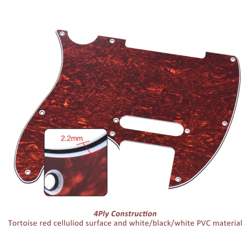 Pickguard Pick Guard 4Ply for Fender Telecaster Standard Modern Style Electric Guitar Tortoise Shell Red