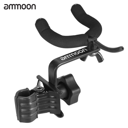 ammoon Adjustable Guitar Clip Hanger Keeper with 360 Degree Rotatable Hook for Bass Ukelele Mandolin Metal Black