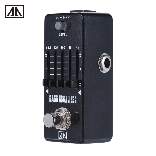 AROMA AEB-5 5-Band Graphic EQ Bass Guitar Equalizer Effect Pedal Aluminum Alloy Body True Bypass