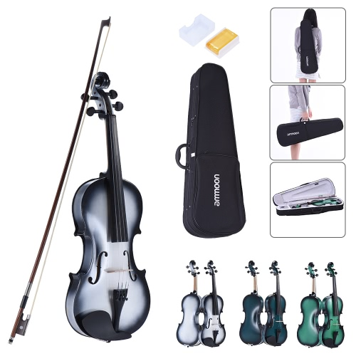 ammoon 1/4 Size Basswood Violin Maple Scroll Fingerboard Pegs Aluminum Alloy Tailpiece with High Quality Rosin Bow Violin Case Gradient Color