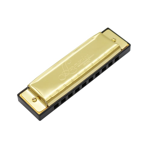 10 Holes 20 Tone Diatonic Blues Harmonica Key of C with Case for Beginner Children Golden