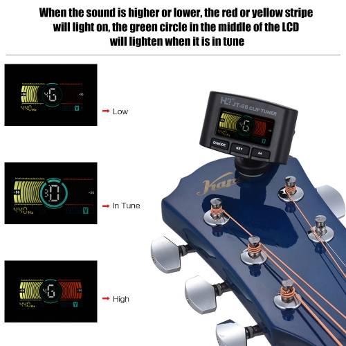 Multi-functional Clip Tuner Guitar Bass Violin Ukelele Chromatic Tuning Mode with Colorful Display for Most Musical Instruments
