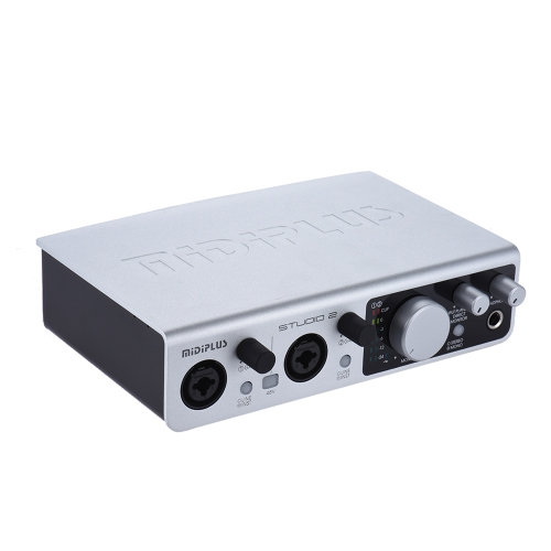 MIDIPLUS STUDIO 2 USB Audio Interface Sound Card 2 Inputs 2 Outputs 24bit/ 192kHz High Precision Sampling 48V Phantom Power with USB Cable 6.35mm to 3.5mm Adapter