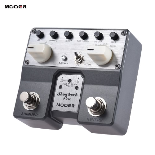 MOOER ShimVerb Pro Digital Reverb Guitar Effect Pedal with Shimmer Effect 5 Reverberation Modes Twin Footswitch