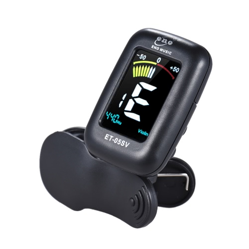 eno ET-05SV Professional Clip-on Tuner Automatic Tuning Mode with Colorful LCD Display for Violin Viola Cello Double Bass Chromatic