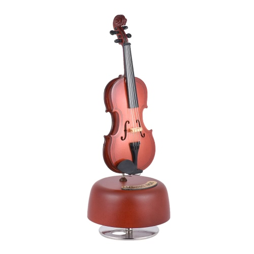 Classical Wind Up Violin Music Box with Rotating Musical Base Instrument Miniature Replica Artware Gift