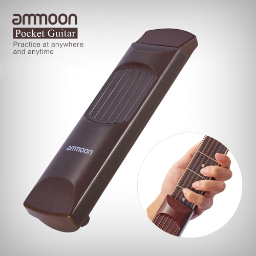 ammoon Portable Pocket Acoustic Guitar Practice Tool Gadget Chord Trainer 6 String 4 Fret Model Rosewood Fretboard Wood Grain for Beginner Learner