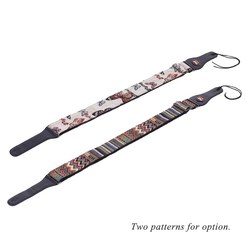 Adjustable Guitar Shoulder Strap Cotton PU Leather Ends with Pick Pocket Tie for Acoustic Folk Classical Electric Guitar Bass Hootenanny Style Pattern