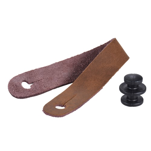 Leather Strap Button Headstock Tie Adaptor for Acoustic Electric Guitar Ukelele Bass Brown