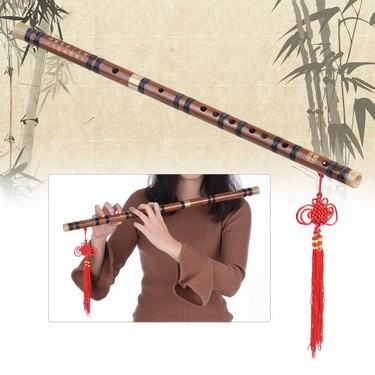 Pluggable Bitter Bamboo Flute Dizi Traditional Handmade Chinese Musical Woodwind Instrument Key of D Study Level Professional Performance