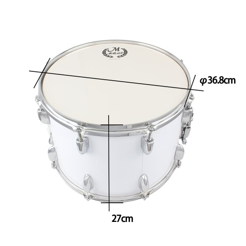 14in Marching Drum Stainless Steel & Maple Wood Body PVC Drumhead with Sticks Shoulder Strap Key for Student Professional Drummer