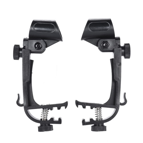 2pcs Clamp Clip On Drum Rim Microphone Mic Mount Holder Adjustable Shockproof