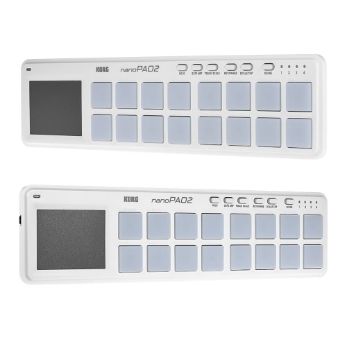 KORG nanoPAD2 Slim-Line Portable USB MIDI Pad Controller 16 Tripper Pads with USB Cable