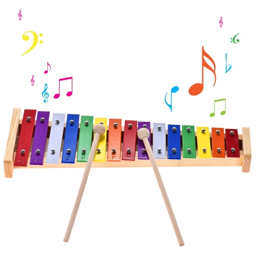 Colorful Glockenspiel Xylophone Wooden & Aluminum Percussion Musical Instrument