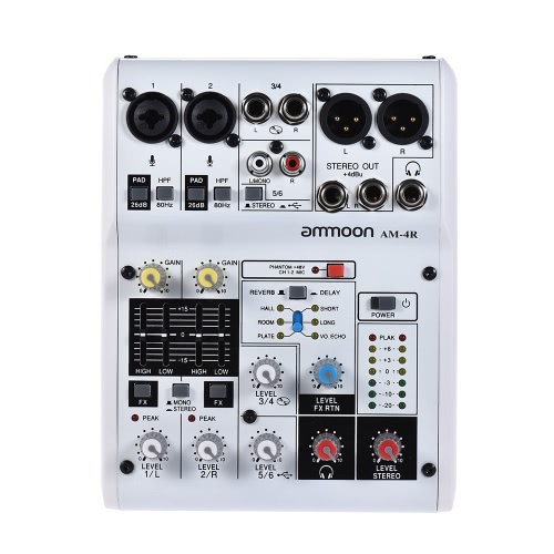 ammoon AM-6R 8-Channel Sound Card Digital Audio Mixer Mixing Console Built-in 48V Phantom Power Support Powered by 5V Power Bank with Power Adapter USB Cables for Recording DJ Network Live Broadcast Karaoke
