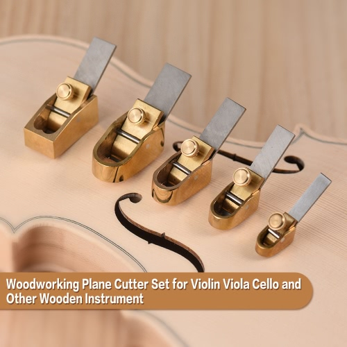 5pcs Woodworking Plane Cutter Set Curved Sole Metal Brass Luthier Tool for Violin Viola Cello Wooden Instrument