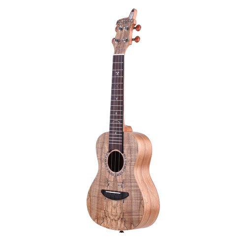 21″ Acoustic Wooden Soprano Ukulele Ukelele Uke Spalted Maple Wood Carbon String with Padded Carrying Bag Strings Strap Clip-on Tuner