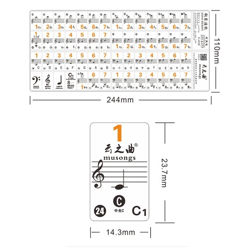 Transparent 37 49 61 Electronic Keyboard 88 Key Piano Stave Note Sticker Notation Version & Sheet Music for White Keys
