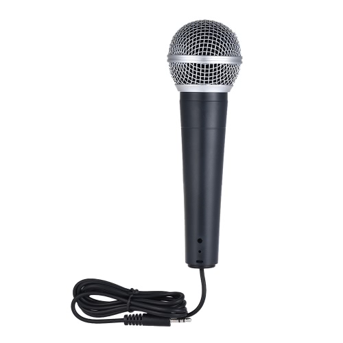 Professional Moving Coil Dynamic Wired Handheld Microphone Mic Unidirectional Cardioid Pattern 3.5mm Plug for Connecting Mobile Phone Computer