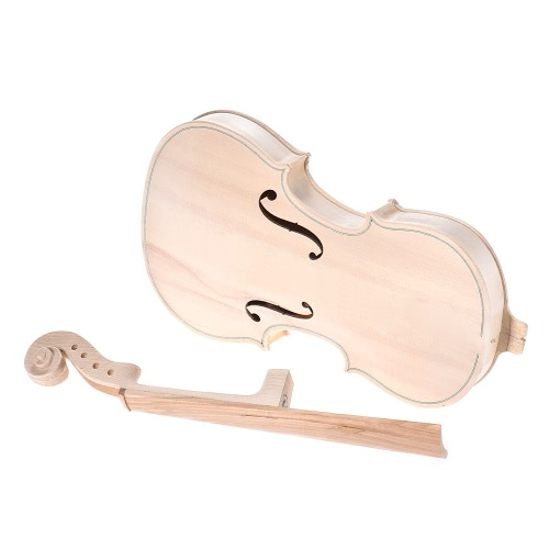DIY 4/4 Full Size Natural Solid Wood Acoustic Violin Fiddle Kit with EQ Spruce Top Maple Back Neck Fingerboard Aluminum Alloy Tailpiece