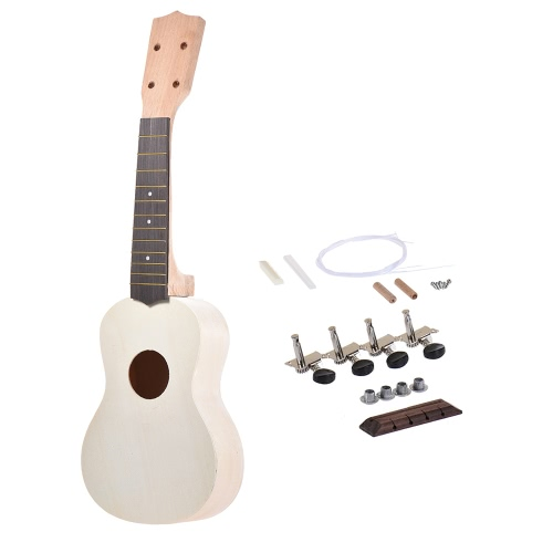 21in Soprano Ukelele Ukulele Hawaii Guitar DIY Kit Maple Wood Body & Neck Rosewood Fingerboard with Pegs String Bridge Nut