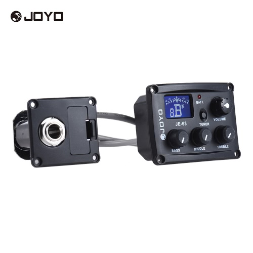 JOYO JE-63 Ukulele Ukelele Uke Piezo Pickup Preamp System 3-Band EQ Equalizer LCD Display with Tuning Function