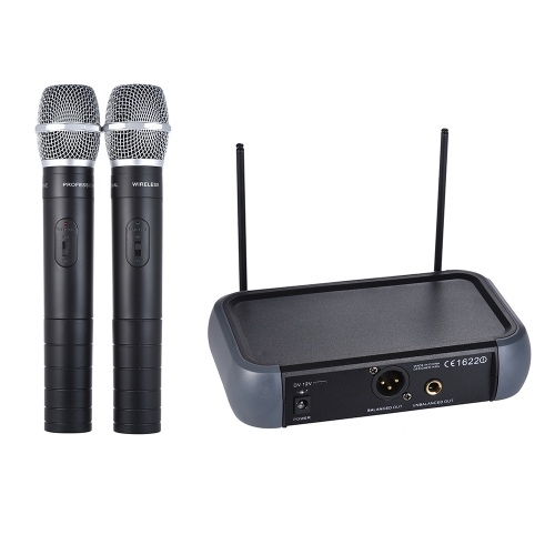 ammoon Dual Channel VHF Wireless Handheld Microphone System with Echo Function for Karaoke Family Party Performance Presentation Public Address