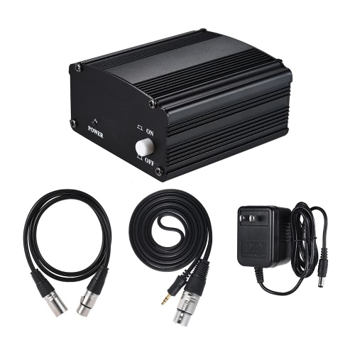 1-Channel 48V Phantom Power Supply with Adapter & 3.5mm Male to XLR Female & XLR Male to XLR Female Audio Cable for Condenser Microphone Studio Music Recording Broadcasting Equipment